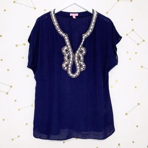 Lilly Pulitzer • Navy Embellished Valencia Blouse